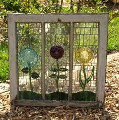 Repurpose Stained Glass Mosaic Window Glass Plate Flowers Salvage garden.