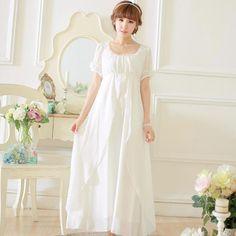 Livraison gratuite de haute qualité en mousseline de soie longues chemises chemise blanche femmes vêtements de nuit millésime déshabillé SA16007(China (Mainland))