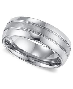 Simple design with a subtle hint of style. Triton men's wedding band features a sophisticated lined pattern set in tungsten carbide. Approximate band width: 8mm. Sizes 8-15. | Photo may have been enla