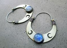 Triple Lunar Goddess Hoop Earrings, Crescent Moon, Blue Moonstone, Goddess Artemis, Goddess Diane, Goddess Bast on Etsy, $159.00