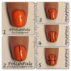 Sports Themed Nails More (Basketball Nails) Diy Nails, Cute Nails, Pretty Nails, Basketball Nails, Basketball Season, Basketball Mom, Volleyball Nails, Custom Basketball, Basketball Design