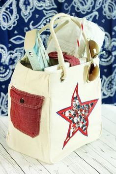 Customizing a Tote Bag with an Old Shirt. Make any store bought look unique with an old shirt and a finger print star. Bag Patterns To Sew, Sewing Patterns, Crochet Tote, Old Shirts, Unusual Gifts, Clutch Purse, Fashion Accessories, Purses, Totes