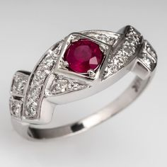 Vintage Ruby Engagement Ring w/ Diamond Accents 14K White Gold