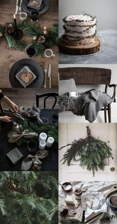 Dekoration Weihnachten - green and black farmhouse Christmas decor. simple with beautiful impact. Minimalist Christmas, Black Christmas, Christmas Mood, Noel Christmas, Christmas Images, Rustic Christmas, Christmas Crafts, Xmas, Christmas Candles