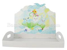 Vassoio celeste per ospitare scatoline portaconfetti panda,coniglio,pulcino