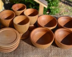 This is one of my favorite Etsy sellers! She is eco-friendly and her products are beautiful! Wooden Toy Dish Setting for Four - Wooden Bowls Plates ... & A First Waldorf Medley -15 Piece Wooden Toy Set Sealed with Beeswax ...