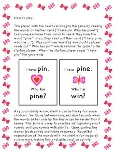 FREEBIE - I Have ... Who Has ...? Silent E (or not) Phonics Game