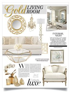 """Gold Living Room"" by boxthoughts ❤ liked on Polyvore featuring interior, interiors, interior design, home, home decor, interior decorating, Regina-Andrew Design, Worlds Away, Bernhardt and Safavieh"