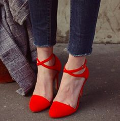 Great way to add a splash of red to an all black outfit or to dress up a pair of jeans.