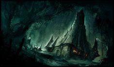 MaxIsland: The Art of Maxime Desmettre Fantasy City, Fantasy Forest, Fantasy Castle, Fantasy Places, Fantasy World, Medieval Fantasy, Dark Fantasy, Fantasy Art Landscapes, Fantasy Landscape