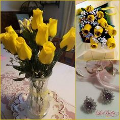 #WaxDippedScentedRoses Yellow Wax Dipped Roses w/ Surprise Jewelry Roses that live forever!! These are our Yellow Wax Dipped Wooden One Dozen Rose Bouquet. They are truly a perfect gift for any special occasion! They will brighten up your home decor and make your home smell incredible!  Choose from 4 scents (unscented as well) that will last upnto 6 months.  There is a surprise jewel with every dozen roses . Choose your surprise - ring necklace bracelet or earrings. This surprise piece of…