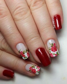 Flowers in red Rose Nails, Flower Nails, Trendy Nail Art, Stylish Nails, Colorful Nail Designs, Beautiful Nail Designs, Dimond Nails, Nail Art Designs Videos, Nail Time