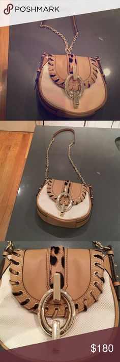 DVF canvas and leather purse Off white canvas with leather and leopard detail, gold chain - never been worn! Diane von Furstenberg Bags Crossbody Bags