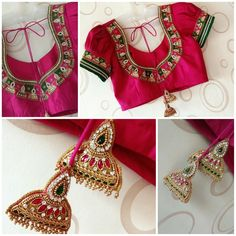Saree Tassels Designs, Pattu Saree Blouse Designs, Blouse Designs Silk, Designer Blouse Patterns, Bridal Blouse Designs, Simple Blouse Designs, Blouse Models, Jewelry Design, Work Blouse