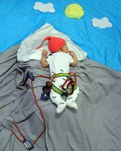 Climbing baby photo concept. Baby photo
