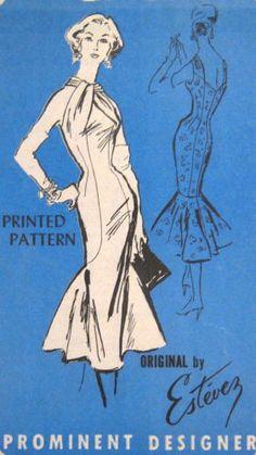 Rare Vintage 1950s Estevez Bombshell Cocktail Dress Pattern Prominent Designer 134.95+5 not sold 11/21/13