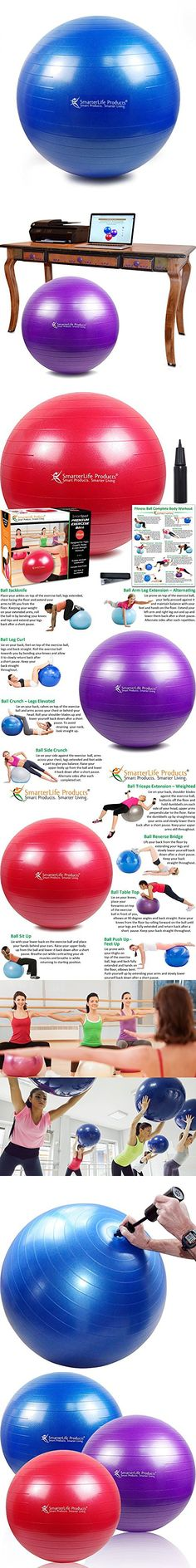 SALE -- SmarterLife Products Premium Exercise and Stability Ball - #1 for Fitness, Weight Loss, Core Strength, CrossFit, Yoga & Pilates (Blue, 75 cm)