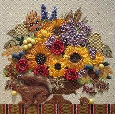 Melissa Shirley Needlepoint Squirrel Autumn Bouquet