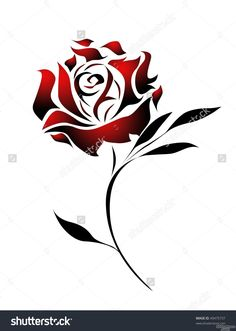 Red Rose Tattoo Design With Path Stock Photo 49475737 Tribal Rose Tattoos, Flower Tattoos, Body Art Tattoos, Tattoo Drawings, Red Rose Tattoos, Rose Drawing Tattoo, Tatoos, Rose Tattoo Stencil, Rose Stencil