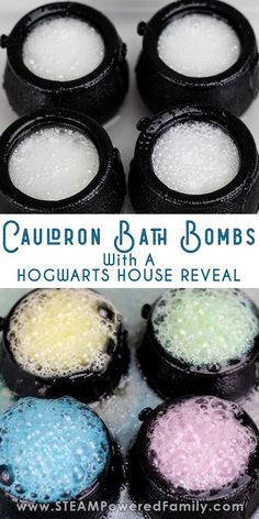 DIY Harry Potter Bath Bombs in cauldrons with Hogwarts House reveal. A great project for kids who love Harry Potter as a potions inspired chemistry lesson. potter diy gift Harry Potter Bath Bombs in Cauldrons with House Reveal Harry Potter Bath Bomb, Cumpleaños Harry Potter, Harry Potter Birthday, Harry Potter Crafts Diy, Harry Potter Classes, Harry Potter Activities, Wine Bottle Crafts, Mason Jar Crafts, Mason Jar Diy