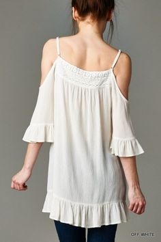Open Shoulder Ruffled Tunic use code: fbshare for free shipping #summerstyle #bohostyle #peepshouldertop