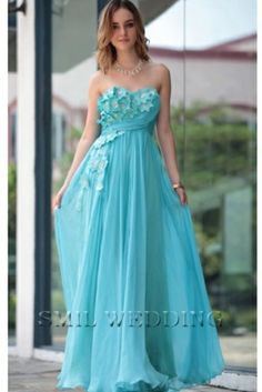 It is a Strapless Blue green Tencel Evening Dress Beading Ruching Appliques. Applique decoration is very vivid, like crawling flower vine.This is a blue sleeveless strapless beaded Ruching the Tencel sweetheart prom dress.A line dress fold decoration, make it natural.The floor length skirt from Tencel fabric, light and elegant.Dress oblique side is decorated with fine decals - made from sequins, crystals and beads.The smil wedding also offers customized services
