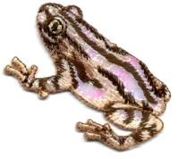 FROG ~ SHIMMERY/EMBROIDERED BROWN STRIPED IRON ON APPLIQUE