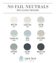 No Fail Neutrals That Won't Disappoint - Neutrals by Benjamin Moore that won't disappoint! Colores Benjamin Moore, Hale Navy Benjamin Moore, Benjamin Moore Classic Gray, Benjamin Moore Colors, Benjamin Moore Paint, Revere Pewter Benjamin Moore, Benjamin Moore Shoreline, Palladian Blue Benjamin Moore, Paint Color Schemes