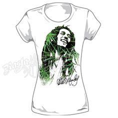 Bob Marley Leaves Dreads White T-Shirt - Women's #BobMarley