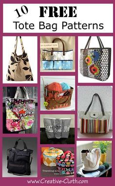 10 Free Tote Bag Patterns | Linda Matthews: Textile Art & Design                                                                                                                                                                                 More