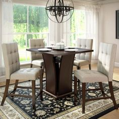 CorLiving Bistro 5 Piece Counter Height Dining Set - Rich Cappuccino/Tufted Platinum Sage - Dining Table Sets at Hayneedle
