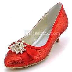 Sparkling Glitter Women's Wedding Kitten Heel  Pumps with Rhinestone Shoes(More Colors) - USD $34.99