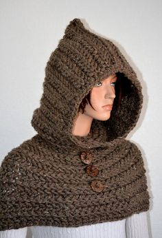 Through the Woods Cowl/ Handmade Hooded Cowl/ Crochet Chunky HoodedNeckwarmer from AfricanCrab Knits & Crochets. Saved to ETSY Shopping. Chunky Crochet, Knit Crochet, Crochet Hats, Crochet Hooded Cowl, Winter Warmers, Neck Warmer, American Girl, Winter Hats, Crochet Patterns