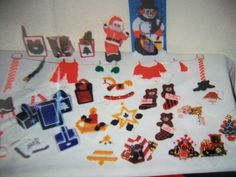 Assorted plastic canvas ornaments.