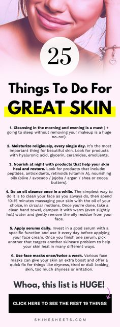 25 Things To Do For Good Skin | ShineSheets