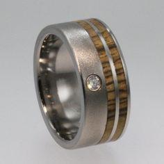 Wood Ring Wedding Band a Titanium Ring Set with Diamond and Bocote Wood Inlay  - Wooden Wedding bands. $749.00, via Etsy.