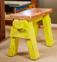 How to make a seat (from a saw stool): For something a little different at the head of your dining table, stabilise two rickety saw stools then add a solid timber top.