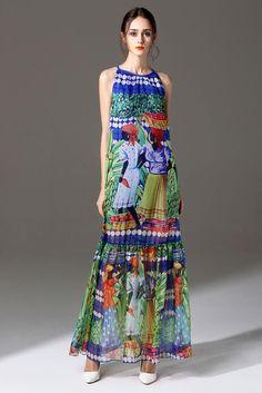 Women Summer Dress Sleeveless Long Silk Bandage Dress National Print Maxi Dress #MI #Maxi #Casual