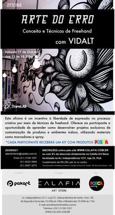 """Publicação do Workshop """" A arte do erro"""" no site da POSCA.  http://posca.com.br/post/workshop-com-vidalt/"""