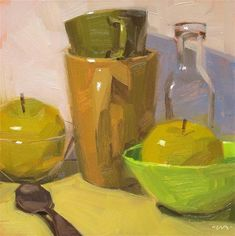 """Beautiful study of my favorite color by one of my favorite artists. """"Shades of Green"""" - Original Fine Art for Sale - © Carol Marine"""