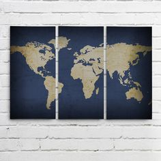 Navy WORLD MAP Wall ART Triptych 3 Canvases by AllyMacDesign