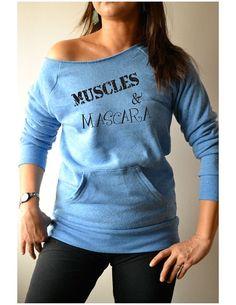 Women's Workout Sweatshirt. Off Shoulder Shirt  by GirlThreads, $34.99