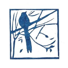 This is really beautiful!  Mounted lino print 'Bird in the trees'. Hand by AngelaBrookensArt, $19.20