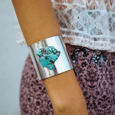 The Silver Cuff in Silver Turquoise/ www.nectarclothing.com
