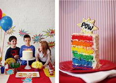 Superhero. I like the idea of making small colorful cakes for the desert or stack table Mel