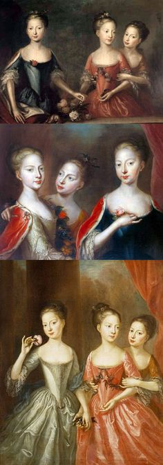 The middle painting is of Princesses Anne (1709-59), Amelia (1711-86) and Caroline (1713-57), 1721, by Martin Maingaud (active 1692-c. 1725) Presumably commissioned by George II or Queen Caroline. The top and bottom paintings are also said to be versions of the same...But only the middle portrait has been positively identified and is in the Royal Collection. http://www.royalcollection.org.uk/collection/404985/princesses-anne-amelia-and-caroline