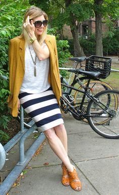 #stripe skirt, #polkadot jacket, office outfit, tassel necklace