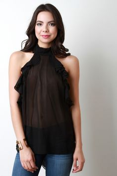 Semi-Sheer Mock Neck Bow Tie Ruffled Top