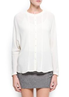 $59.99, Loose-fit shirt with pleats at front, rounded neckline, long sleeves, trimmed hems and metal fastenings with buttonholes.
