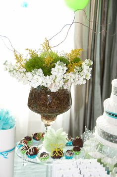 Green and Blue - Flower Center Piece